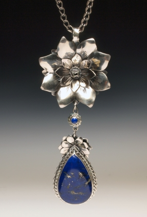 Magnolia Series Pendant. Sterling silver, Lapis, loop-in-loop handcrafted chain. Fabricated and shell formed